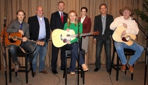 Pictured from the left: Josh Kear (Songwriter), Marc Driskill (AIMP President/Sea Gayle Music), Congressman Doug Collins, Jessi Alexander (Songwriter), Darcy Anderson (Cheif of Staff to Congressman Marsha Blackburn), John Barker (President and CEo of ClearBox Rights and Copyright Society Chairman of the board), Wynn Varble (Songwriter)/ Photo credit: Drew Maynard