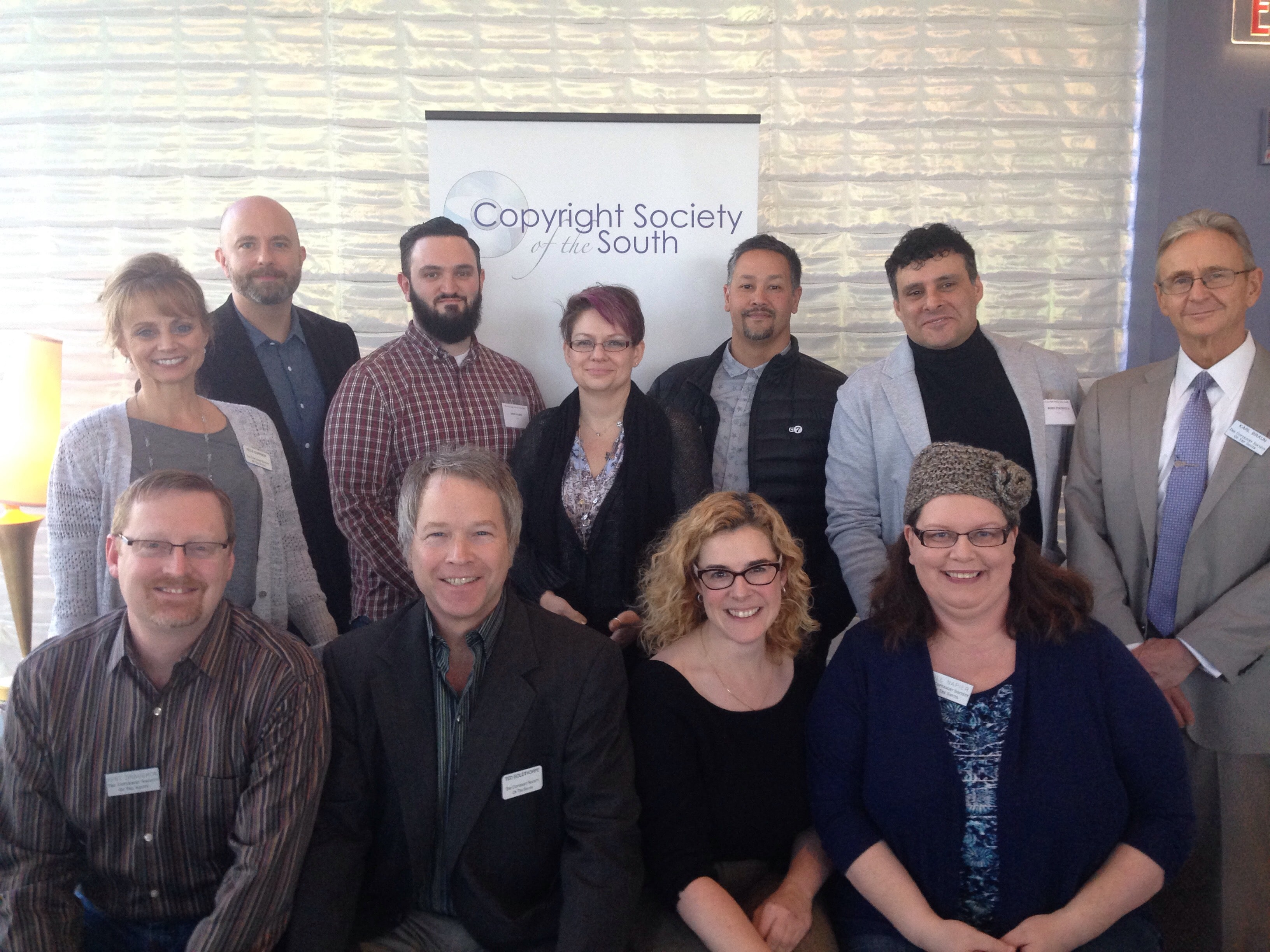 Pictured (top row, L-R): Kele Currier (ASCAP), Shawn Yeager, Mike Fabio, Heather McBee, Wayne Leeloy, John Pisciotta, Karl Braun (Hall, Booth, Smith). Pictured (bottom row, L-R): Kent Draughon (Capitol CMG), Ted Goldthorpe (Sony/ATV), Jill Napier (Music Pub Works)