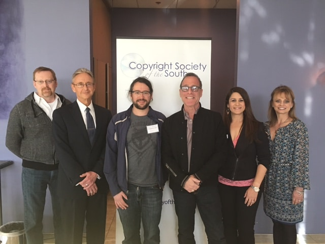 Pictured L-R: Kent Draughon (Capitol CMG), Karl Braun (Hall, Booth, Smith), Louis-Phillipe Caron, Steve Schnur, Denise Stevens (Loeb & Loeb), Kele Currier (ASCAP)